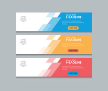 Three Color Abstract Web Banne...