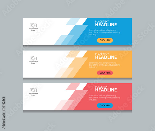 Photo three color abstract web banner design template