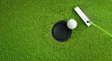 Golfball Beim Putten Von Oben