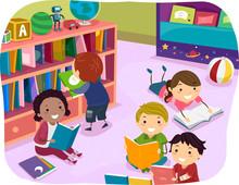 Stickman Kids Reading Time Pre...