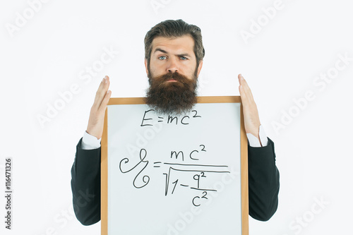 bearded man with einstein formula and newtons law плакат