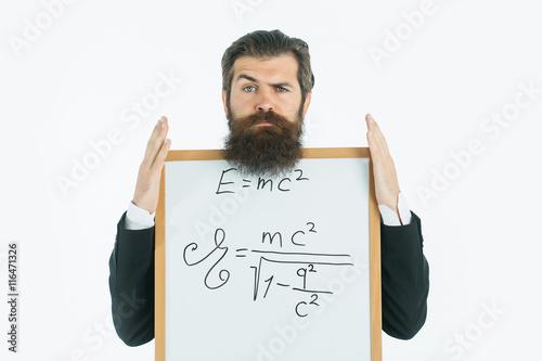 Poster  Bärtiger Mann mit einstein Formel und Newtons Gesetz