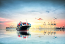 Logistics And Transportation Of Container Cargo Ship And Cargo P