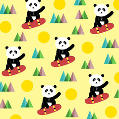 Fototapeta Panda on a skateboard - pattern