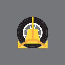 Wheel Clamp Side View Vector Illustration.