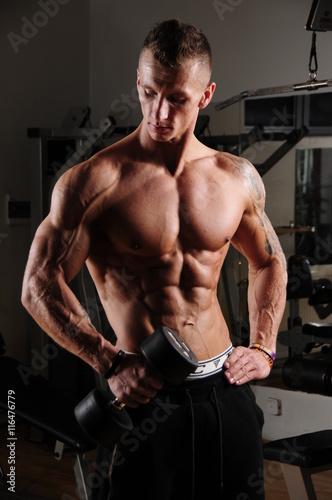 Obraz siłownia, fitness, Athletic,  men's, portret, body, ciało, sylwetka, gym, workout, model  - fototapety do salonu