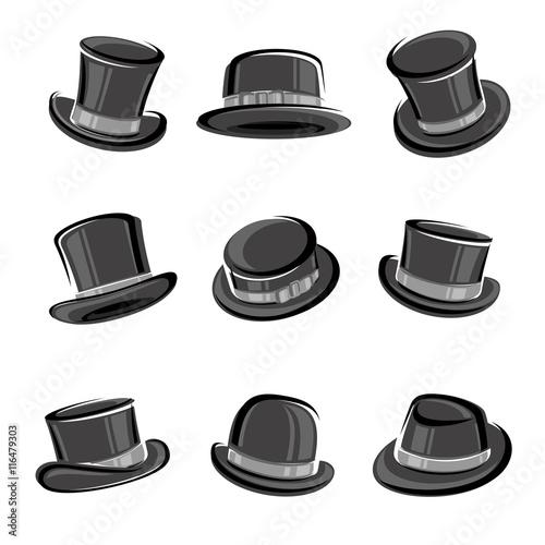 Obraz Black top hat set. Vector - fototapety do salonu