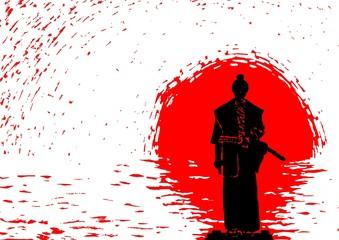 Panel Szklany Sztuki walki Samurai on the background of the rising sun