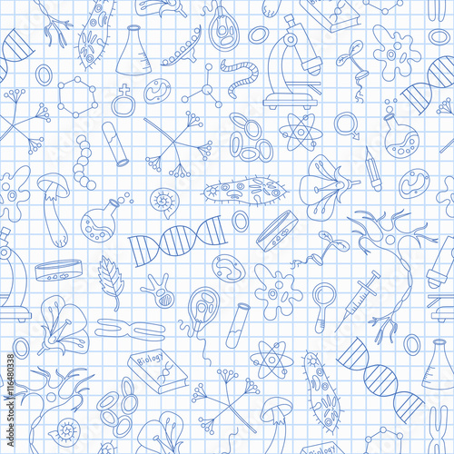 Fotografie, Tablou  Seamless pattern with hand drawn icons on the theme of biology,dark blue outline