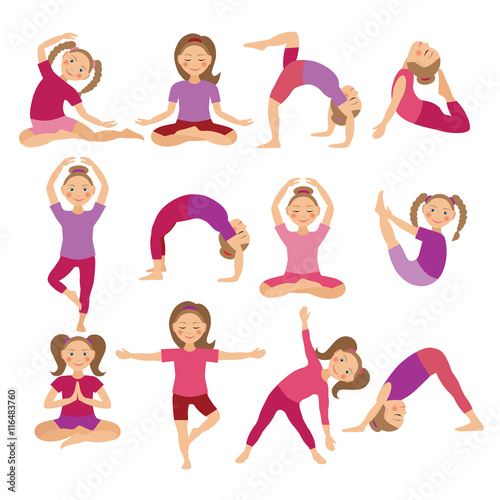 Kids Yoga Poses Vector Illustration Child Doing Exercises Posture For Kid Healthy Children Lifestyle Babies Gymnastics Sports Girls On White Background Oriental Meditation And Relaxation Buy This Stock Vector And Explore