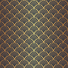 Fototapeta Style Seamless Art Deco Pattern with Gold Gradient