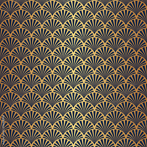 Photographie  Seamless Art Deco Pattern with Gold Gradient