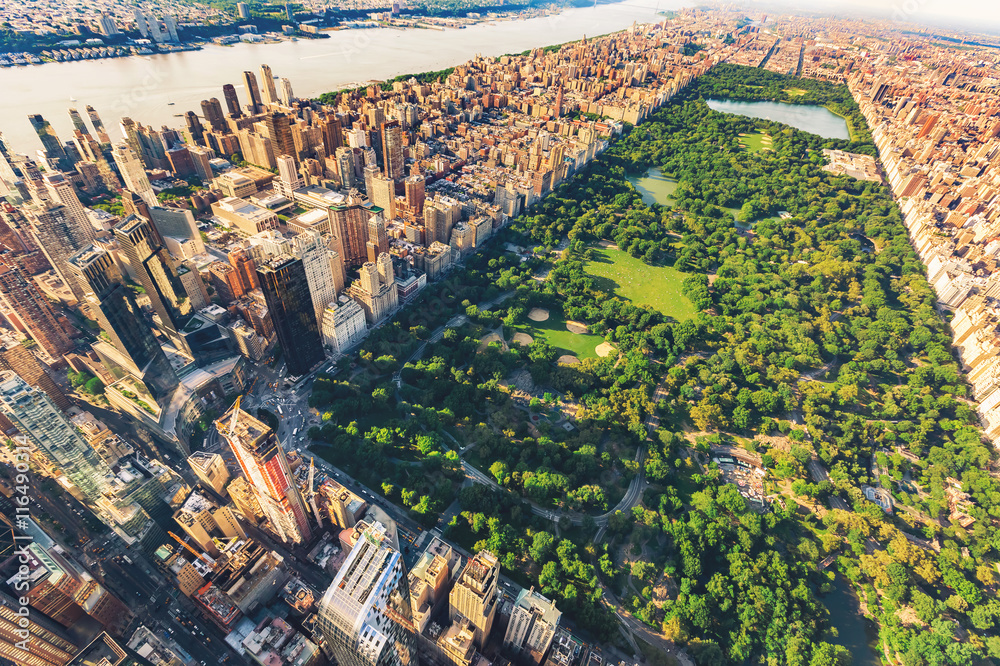 Fototapety, obrazy: Aerial view of Manhattan looking north up Central Park