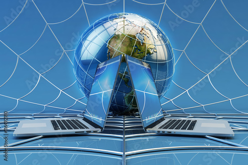 Global computer network connection, online communication and