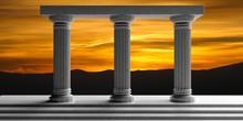 Three White Marble Pillars. 3d Illustration