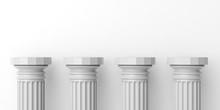 Four White Marble Pillars. 3d Illustration