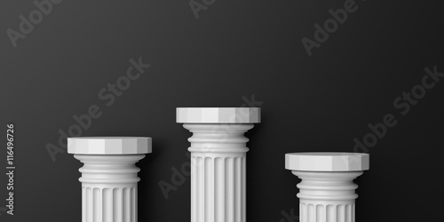 Marble columns podium on black background. 3d illustration Canvas-taulu