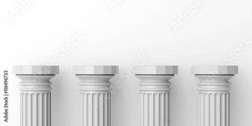 Valokuva  Four white marble pillars. 3d illustration