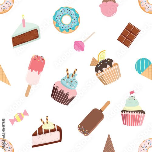 plakat Birthday seamless pattern with sweets - ice cream, donuts, cupcakes, chocolate bar, candies.