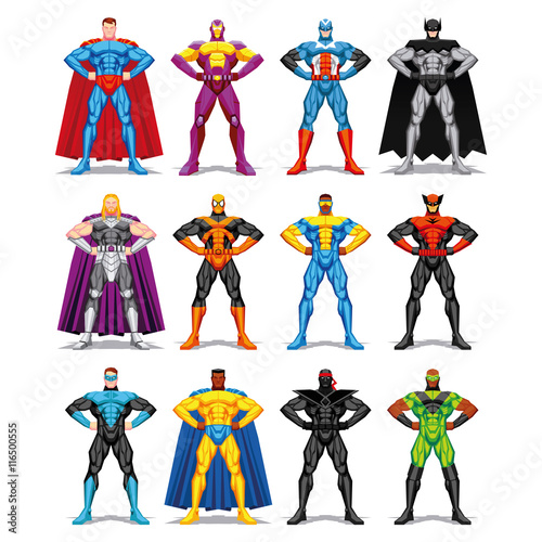 Fotografie, Tablou  Set Of Different Superheroes Isolated On White Background