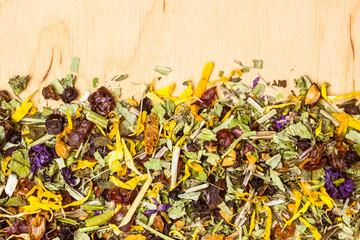 Fototapeta Przyprawy Assorted natural medical herbs border frame