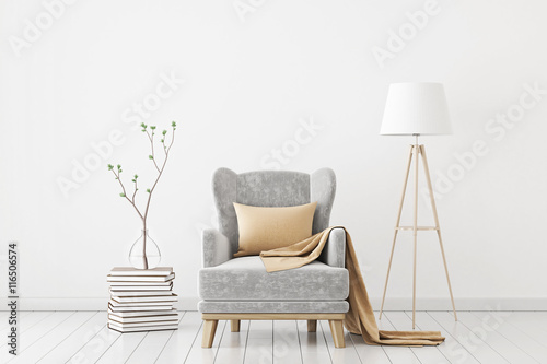 Fototapeta Neutral interior with velvet armchair on empty white wall background