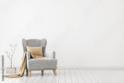 Obraz na plátně  Neutral interior with velvet armchair on empty white wall background