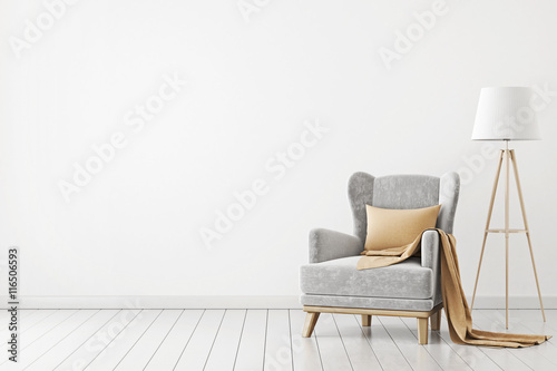 Fotografie, Obraz  Neutral interior with velvet armchair on empty white wall background