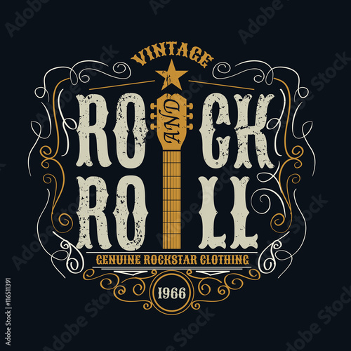 vintage rock and roll typograpic for t-shirt ,tee designe,poster Canvas Print