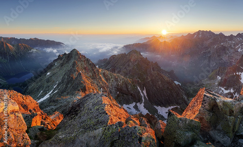 Obraz Mountain sunset panorama landscape in Tatras, Rysy, Slovakia - fototapety do salonu