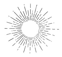 Linear Drawing Of Sun. Vintage Style Of The Image. Hipster Style. Light Rays Of Burst. Handdrawn Vector Illustration