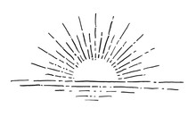 Linear Drawing Of Sunrise. Vintage Style Of The Image. Hipster S