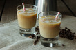Cold coffee coctails with straws