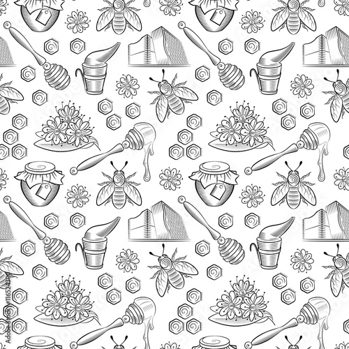 Cotton fabric Seamless pattern with pots of honey, bees and flowers.