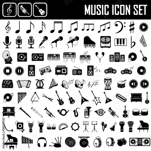 Fotografia  musical instruments icon set