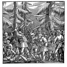 "Woodcut, ""A Mob Of Fighting Pe..."