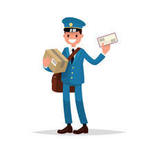 Cheerful Postman With Parcels And Letter. Vector Illustration