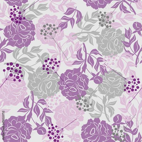 Fototapeten Künstlich Seamless floral pattern with peonies