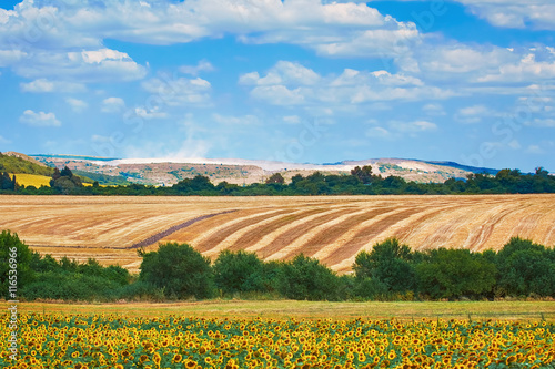 Fotografering  Agricultural Fields in Bulgaria