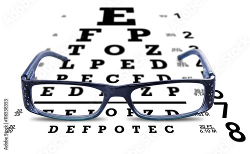 Glasses On Eye Chart Test Vision On White Buy This Stock Photo And
