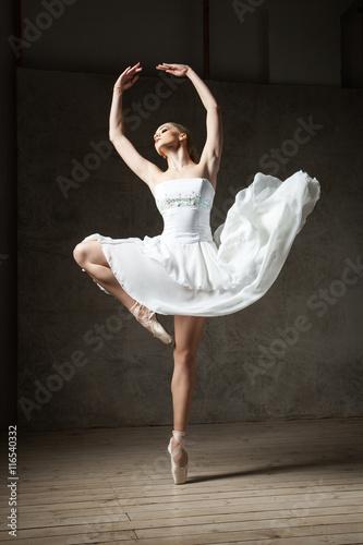 Fotografie, Obraz  Beautiful ballerina dancing in white dress