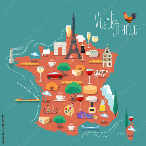 Photo Map of France vector illustration, design