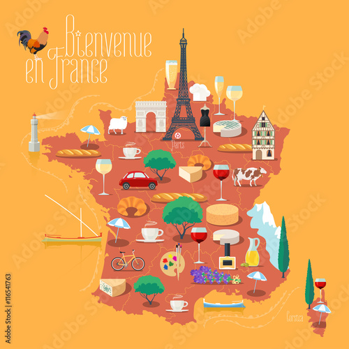 Map of France vector isolated illustration Canvas Print