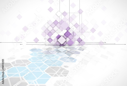 Fototapety, obrazy: violet abstract square geometric background for web solution technology