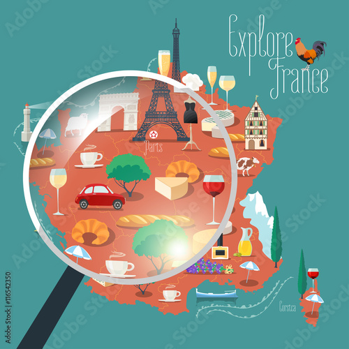 Fényképezés  Map of France vector isolated illustration