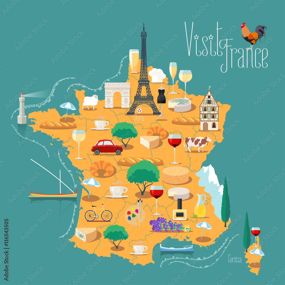 Photo  Map of France vector isolated illustration