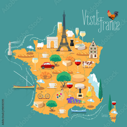 Fotografie, Tablou  Map of France vector isolated illustration