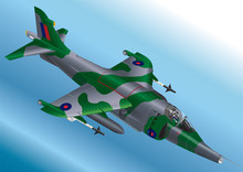 Detailed Isometric Vector Illustration Of A Royal Air Force Harrier Jet Fighter