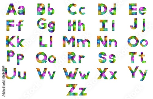 Alphabet Set Of English Letters Signs Uppercase And Lowercase Stylized Colorful Holiday Firework With