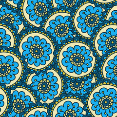 Blue doodle flower pattern.Hand drawn cute seamless background. Vector illustration.
